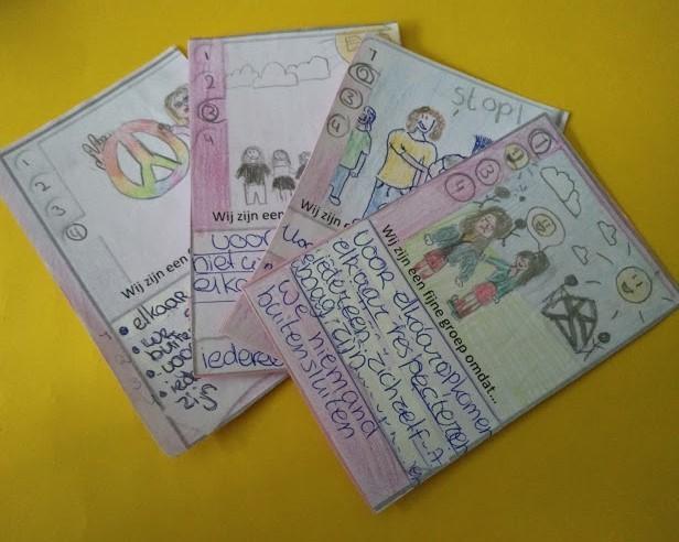 Kwartetkaartje door leerlingen getekend